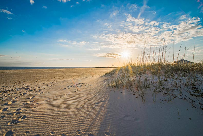 A sunrise over the dunes on a Gulf Coast beach