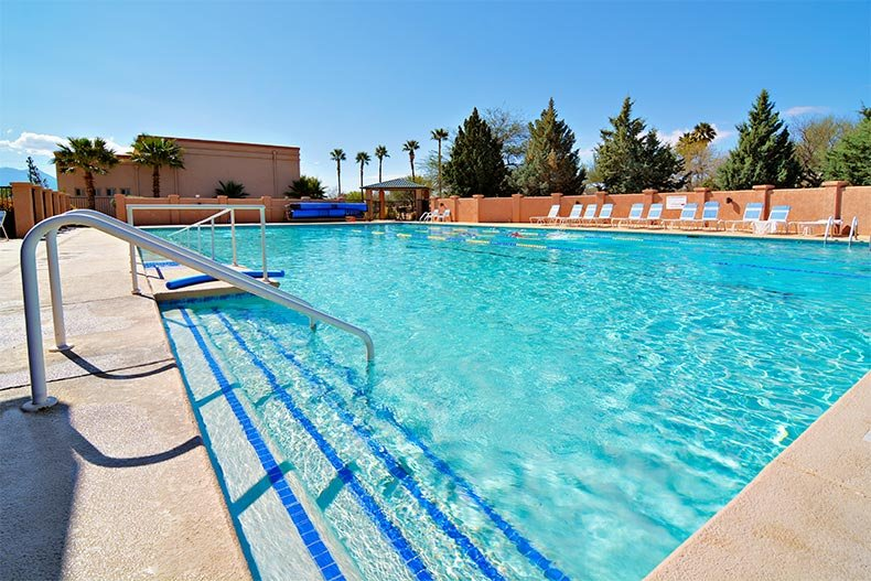 View of an outdoor pool at one of the recreation centers in Green Valley, Arizona