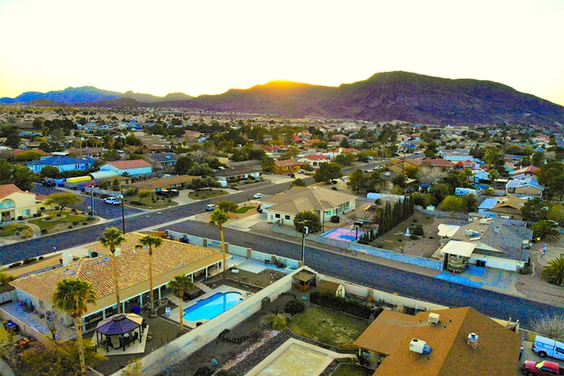 Aerial view of Henderson, Nevada with homes near mountain
