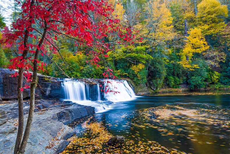 Hooker Falls in North Carolina during autumn