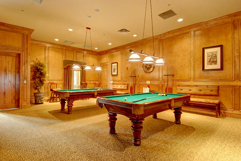 View of the billards room at Heritage Ranch in Fairview, Texas