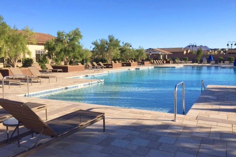View of the community's outdoor pool and patio at Heritage at Cadence in Henderson, Nevada