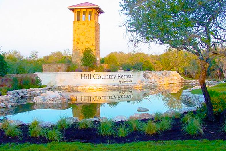 Entrance and lake outside of Hill Country Retreat