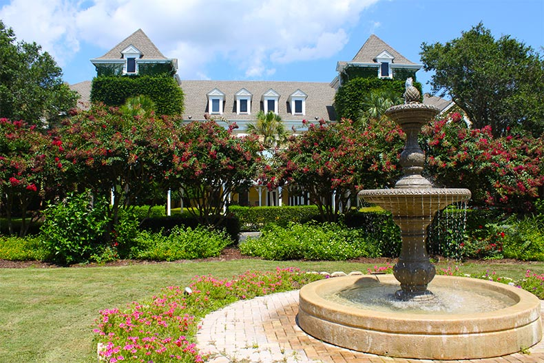 Landscaping in bloom at the clubhouse at Hilton Head Plantation, South Carolina