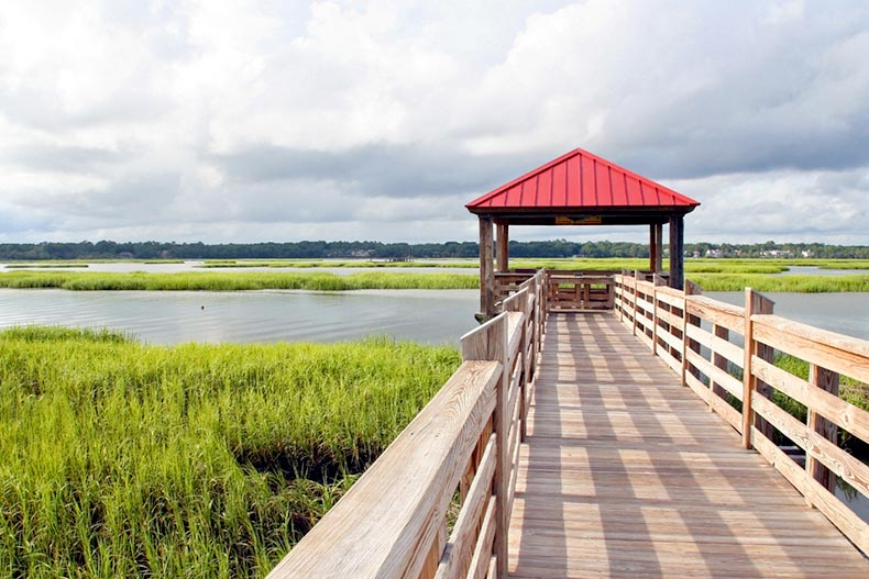 Observation deck and fishing pier in marshland at Hilton Head Island, South Carolina
