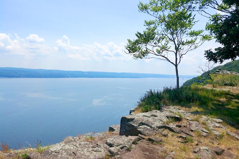 View of the Hudson River from Hook Mountain State Park in Upper Nyack, New York