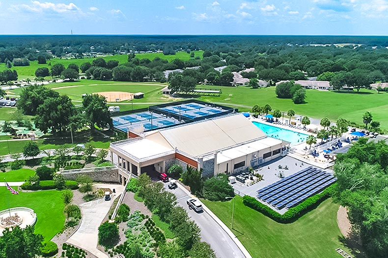 Aerial view of an amenity center at On Top of the World in Ocala, Florida