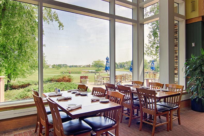 View of the golf course outside the window of the restaurant at Sun City Huntley in Huntley, Illinois