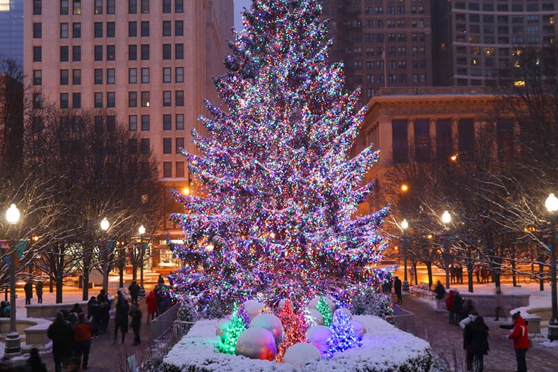 View of a lighted Christmas tree in downtown Chicago at twilight