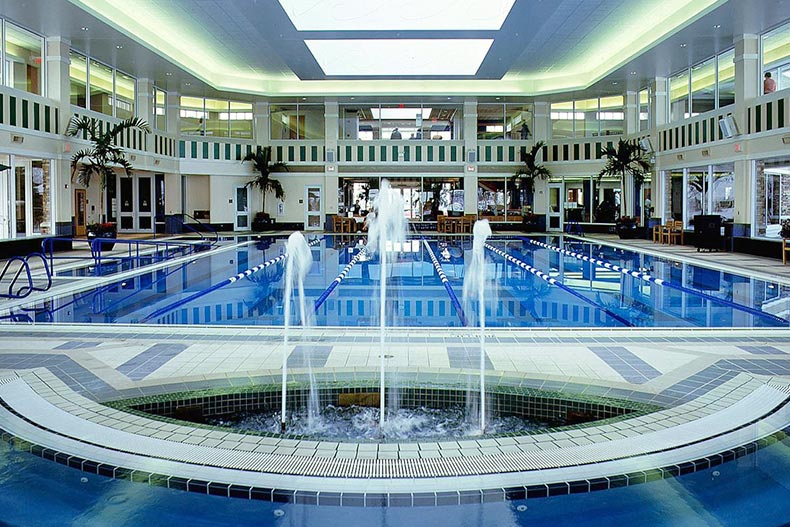 View of the indoor pool and water features at Sun City Huntley in Huntley, Illinois