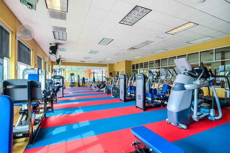 Interior view of the fitness center at Shorewood Glen in Shorewood, Illinois