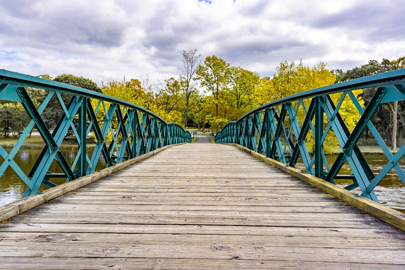 A wooden bridge over the Fox River in Geneva, Illinois