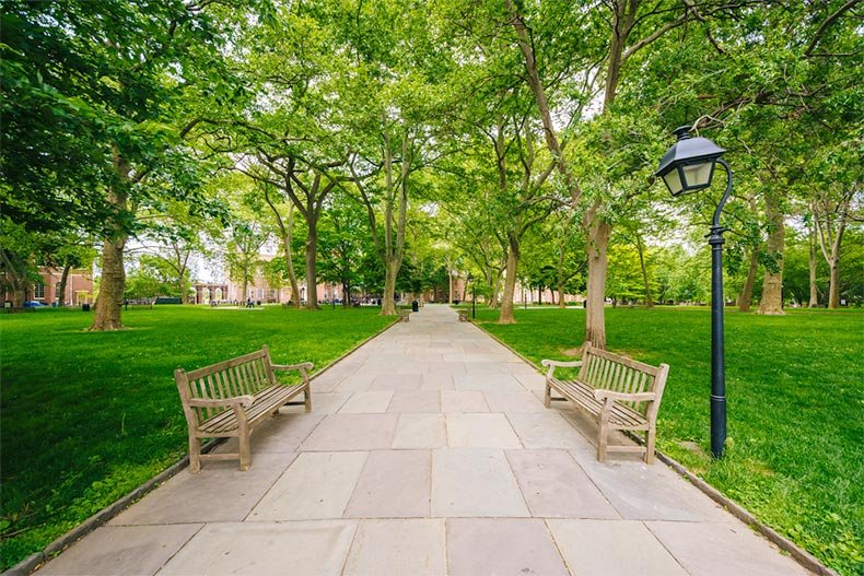 Benches along a walkway at Independence Mall in Philadelphia, Pennsylvania