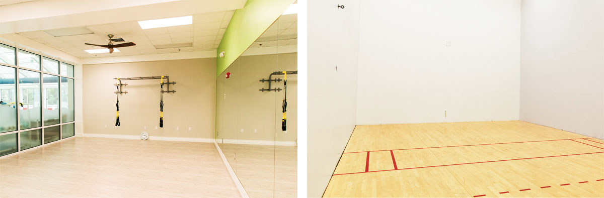 racket ball and fitness room