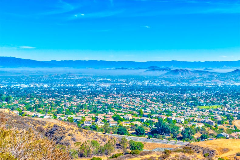 Sprawling view of homes and hills in California's Inland Empire