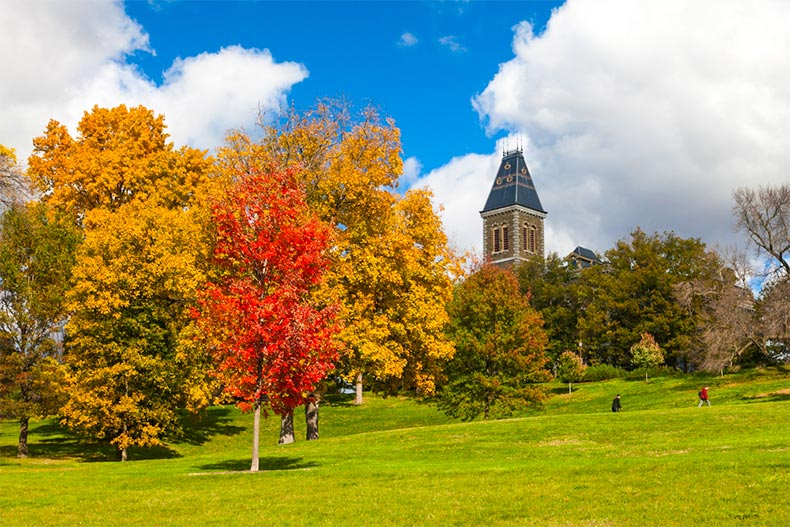 Fall colors at Cornell University in Ithaca, New York