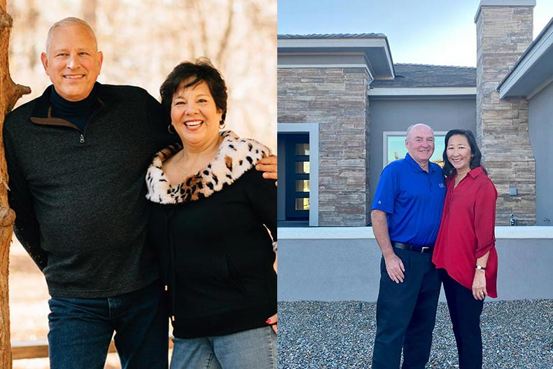 Side by side photos of Brian and Jasmine Jones (right) and Rick and Denise Johnson (left) who are residents of Trilogy at Wickenburg Ranch