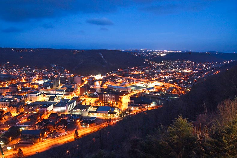 Nighttime view from a hill of Johnstown, Pennsylvania