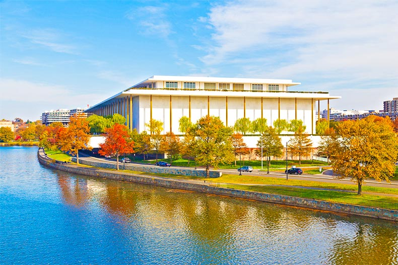 Exterior of the Kennedy Performing Arts Center on the Potomac River in autumn