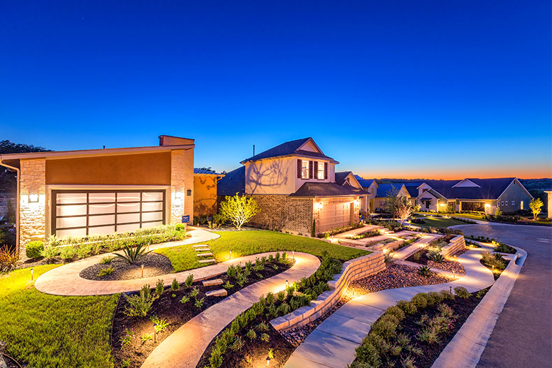 The homes in Kissing Tree, a gated active adult community in San Marcos, Texas.