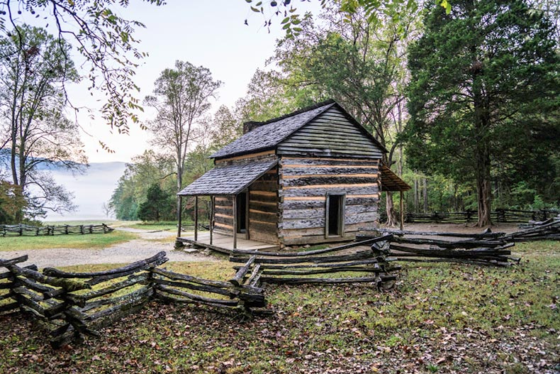 A historic cabin in the Great Smoky Mountains National Park near Knoxville, Tennessee