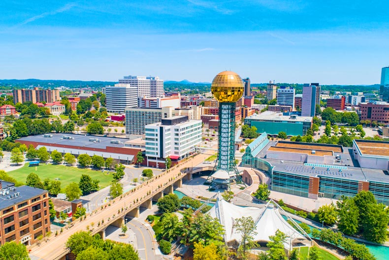 Aerial view of the skyline in Knoxville, Tennessee