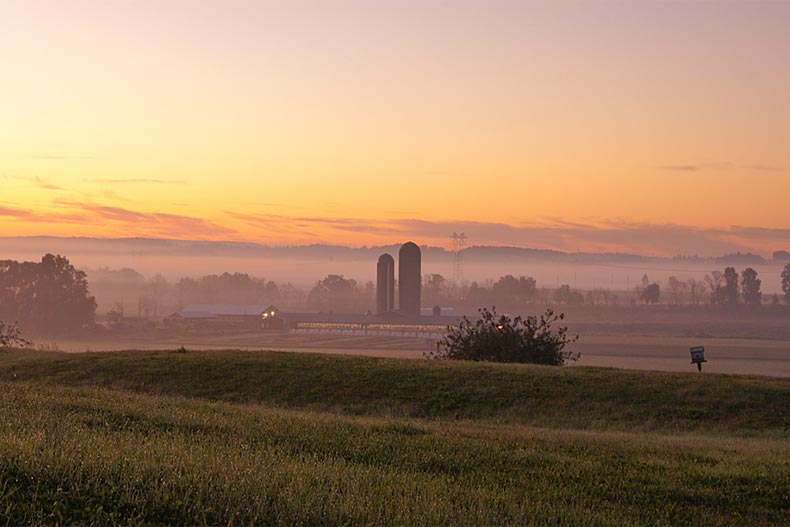 Early morning fog on rolling meadows on a farm with dark silos in the background