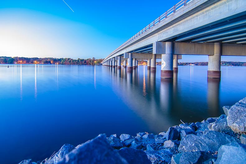 A bridge connecting North Carolina and South Carolina over Lake Wylie