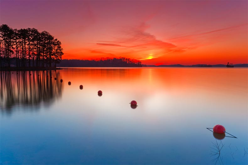 Sunset on Lake Lanier in Gainesville, Georgia