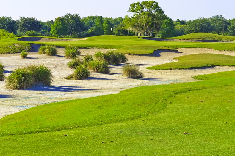 Bunkers and fairway on golf course in Lakewood Ranch