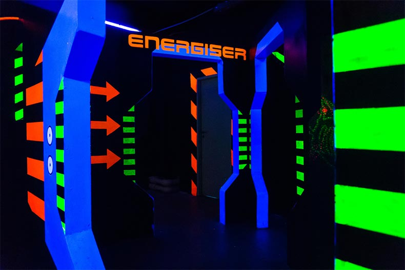 Interior of a laser tag arena