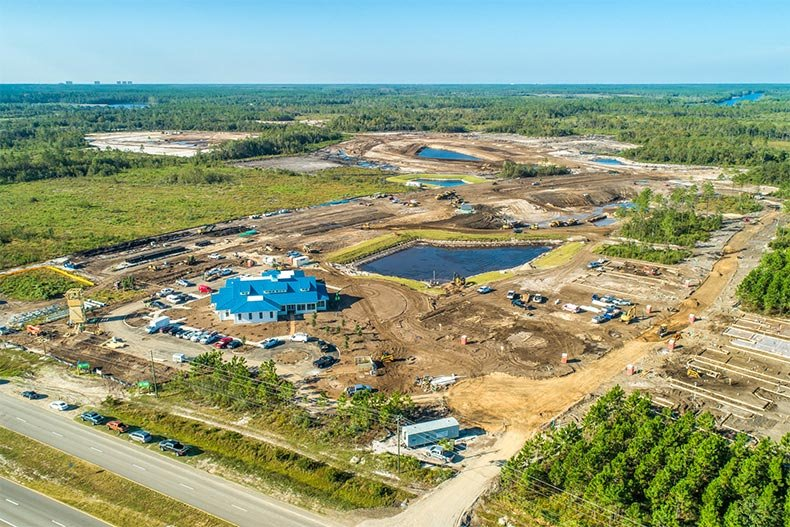 Aerial view of the construction site of Latitude Margaritaville Watersound in Watersound, Florida