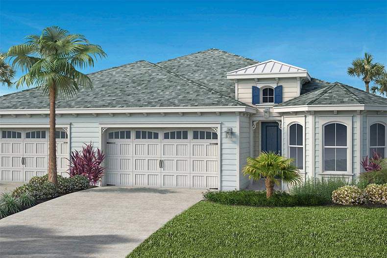 A rendering of an exterior view of a model home at Latitude Margaritaville Watersound in Watersound, Florida