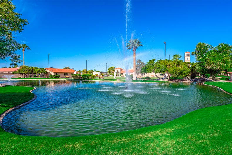 A fountain in a picturesque pond at Leisure World in Mesa, Arizona