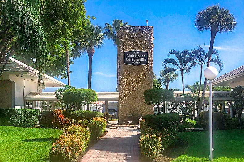 Entrance to the clubhouse at Leisureville in Pompano Beach, Florida