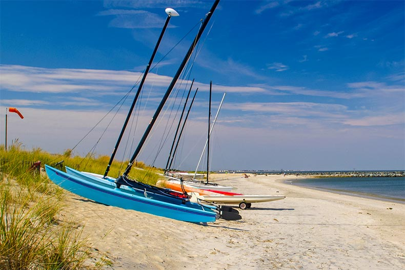 Small sailboats on the shores of Lewes, Delaware