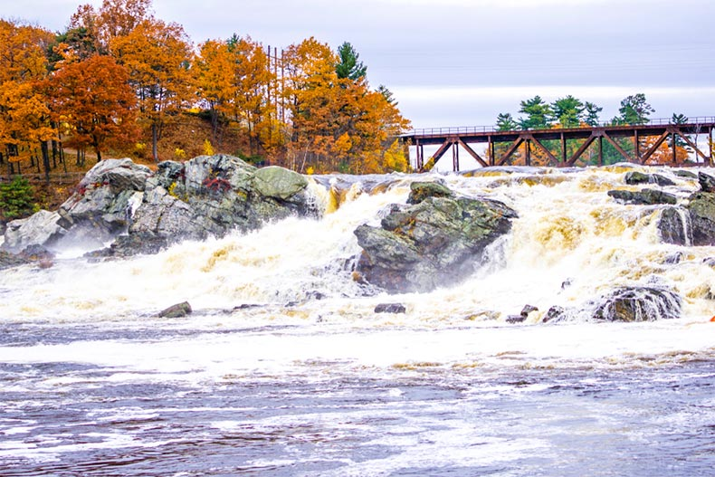 Great Falls in Lewistown, Maine on an autumn day