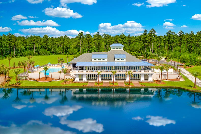 Aerial view of the Lake Latitude Club reflecting off the water in Latitude Margaritaville Hilton Head