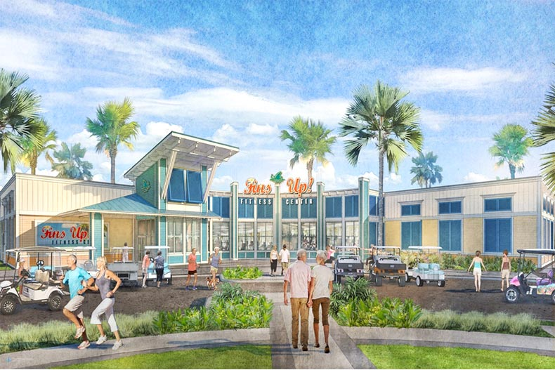 Rendering of residents in front of Fins UP! Fitness Center in a Latitude Margaritaville community