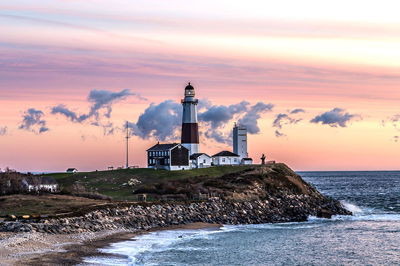 The Montauk Point Lighthouse at dusk in Long Island, New York.