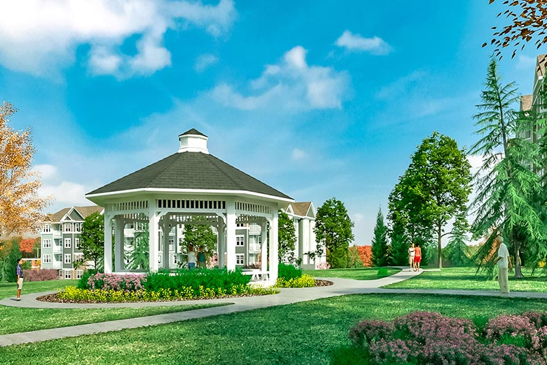 Rendering of a gazebo surrounded by greenspace at Del Webb Chauncy Lake in Westborough, Massachusetts