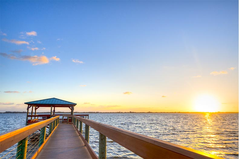 View of the ocean sunset from a pier in Melbourne, Florida
