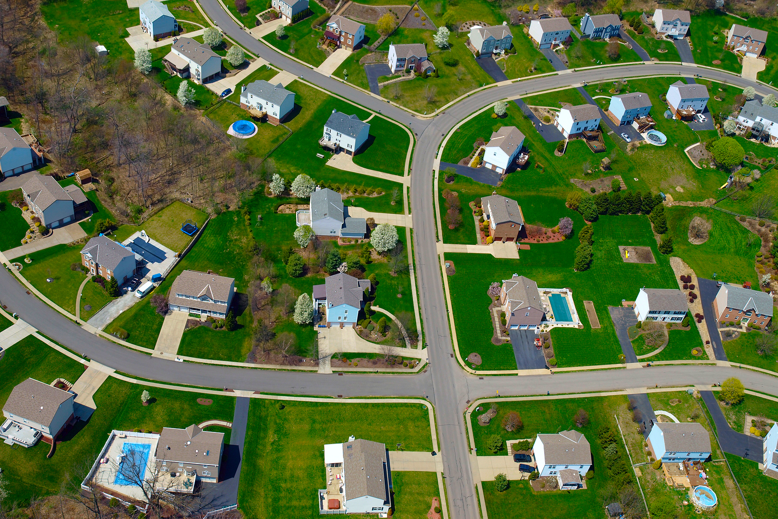Aerial view of a Midwest suburb in the summer