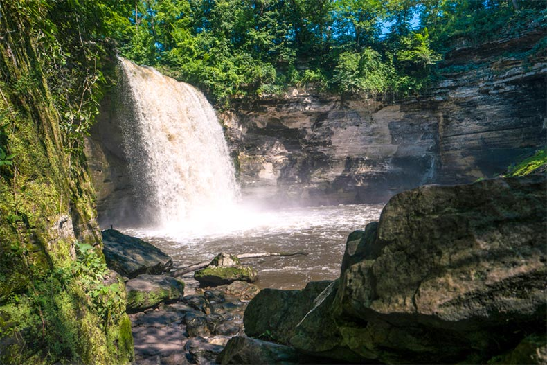 Minneopa Falls in Mankato, Minnesota