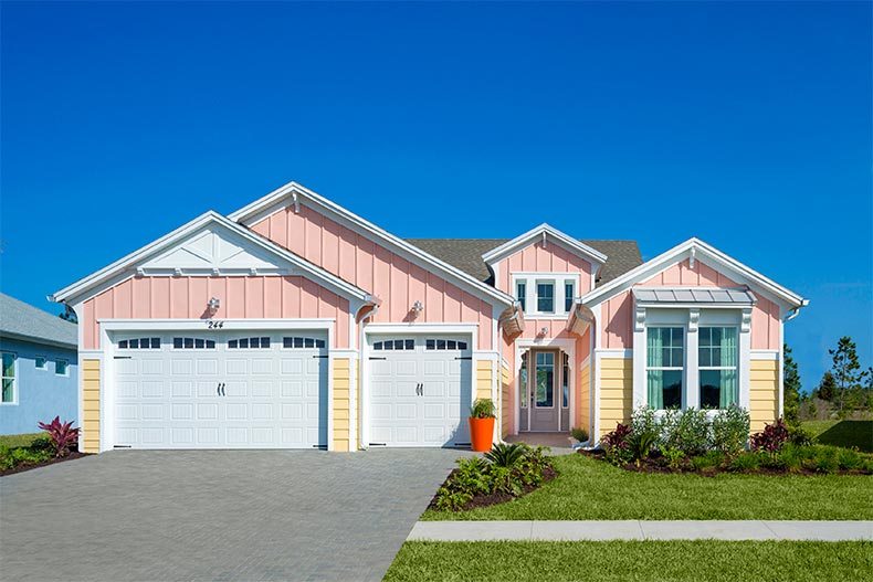 Brightly colored home in Latitude Margaritaville in Daytona Beach, FL