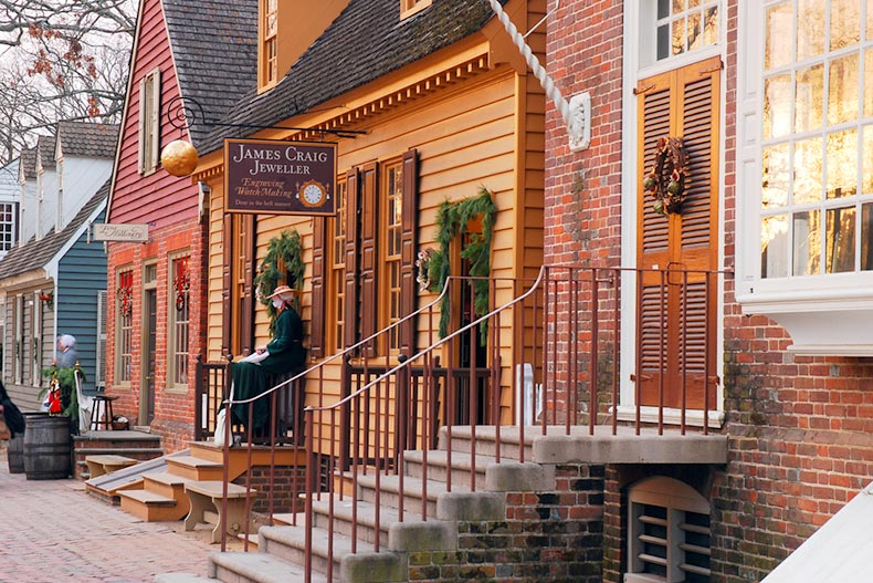 Christmas holly and wreaths adorning the Colonial doors in Williamsburg, Virginia