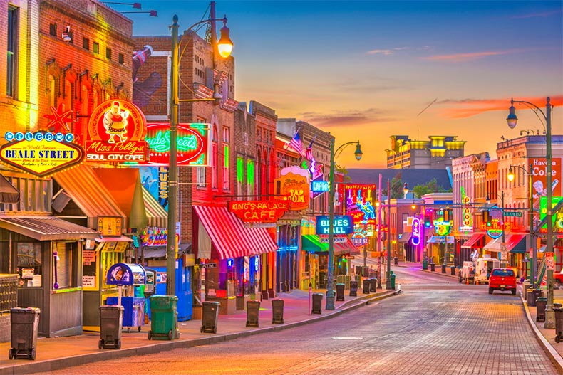 Nighttime view of Beale Street in Memphis, Tennessee
