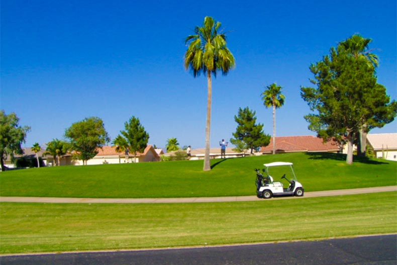 Golfer and golf cart at tea on course in Sunland Village East