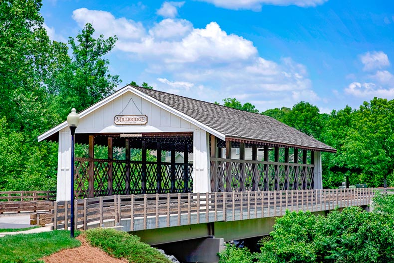 A covered bridge in Millbridge Ranches - The Ridge in Waxhaw, North Carolina