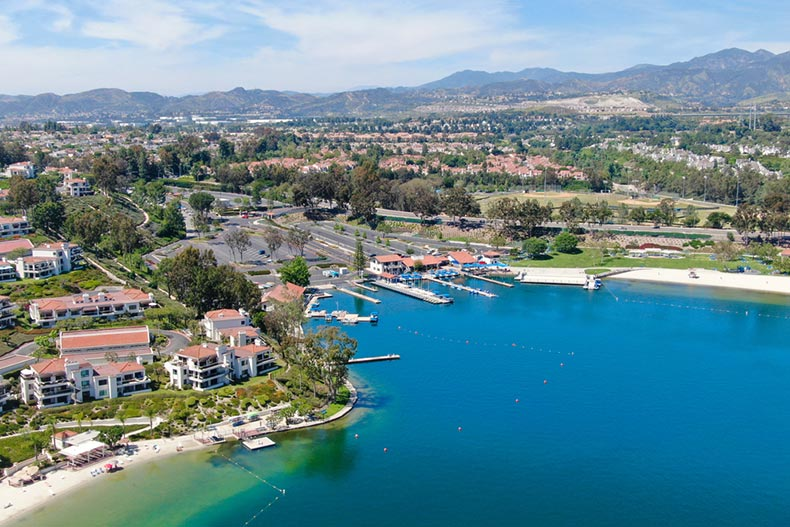Aerial view of Lake Mission Viejo in Orange County, California
